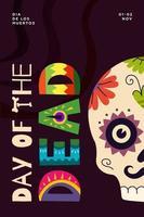 dia mexicano do cartaz da festa dos mortos. festival dia de los muertos vetor