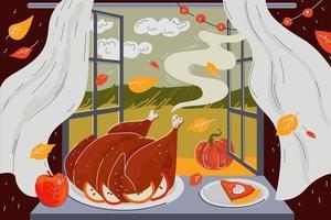 cartão do feriado do feliz dia de ação de Graças. aroma de peru assado vetor