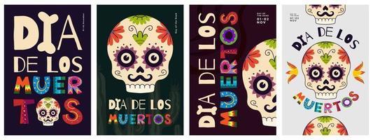dia mexicano do conjunto de cartazes mortos. dia de los muertos vetor