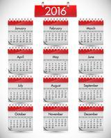 Calendário realista com capa dura vermelha, ilustração vetorial