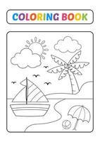 livro de colorir para crianças, vetor de praia