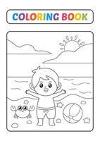 livro de colorir para crianças, menino em vetor de praia