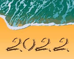 Sandy Beach text 2022 viagens temporada ano novo vetor
