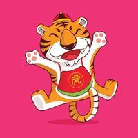 ano novo chinês 2022 com o zodíaco tigre bonito dos desenhos animados do calendário 2022. vetor