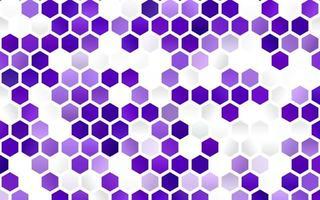 textura vector roxo claro com hexágonos coloridos.