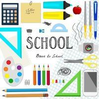 letras de texto de volta às aulas e diferentes materiais escolares. vetor