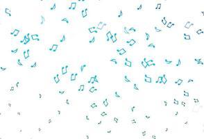 textura vector azul, verde claro com notas musicais.
