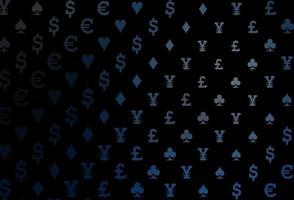modelo de vetor azul escuro com símbolos de pôquer.