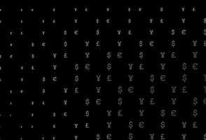 fundo cinza escuro do vetor com eur, usd, gbp, jpy.
