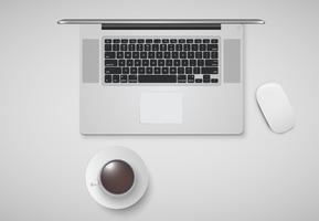 Mínimo escritório com computador, mouse e uma xícara de café, ilustração vetorial