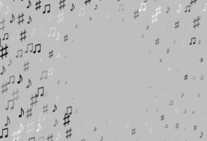 pano de fundo de vetor cinza claro prata com notas musicais.