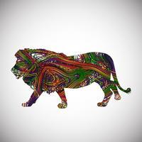 Leão colorido feito por linhas, ilustração vetorial vetor