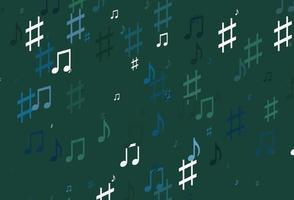 modelo de vetor azul claro e verde com símbolos musicais.