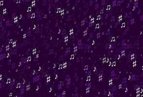 modelo de vetor roxo claro com símbolos musicais.