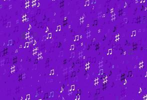 pano de fundo vector roxo claro com notas musicais.