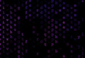 textura vector roxo escuro com caracteres abc.