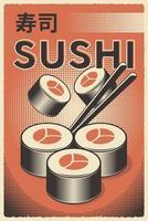 pôster retrô de sushi de comida japonesa vetor
