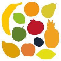 conjunto de silhuetas de frutas. objetos isolados em fundo branco vetor