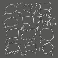 balão de fala em fundo preto, doodle vetor
