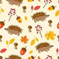 Outono padrão sem emenda com ouriço, folhas vetor
