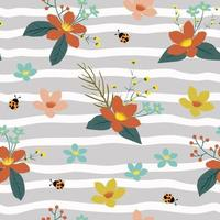 padrão floral sem costura com joaninhas vetor