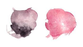 Pincelada abstrata aquarela rosa com textura de papel áspero vetor