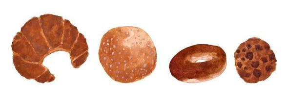 conjunto de pão e biscoito em aquarela vetor