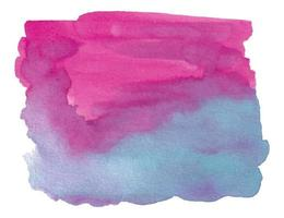 Pincelada abstrata aquarela rosa e azul com papel áspero vetor