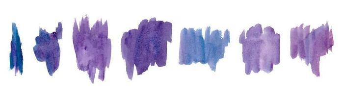 pincelada abstrata aquarela azul e roxa vetor