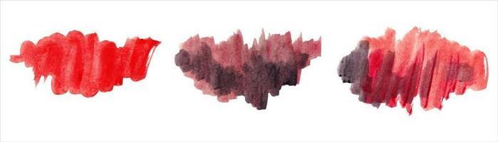pincelada abstrata aquarela vermelha com papel áspero texturizado vetor