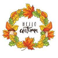 coroa de outono com folhagem e cogumelos vetor