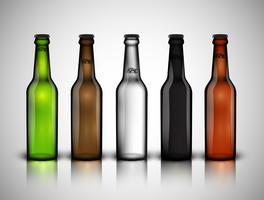 Diferente garrafa realista de cervejas, ilustração vetorial