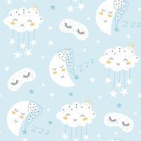 padrão sem emenda com linda lua, estrelas, máscara de dormir e nuvens. vetor
