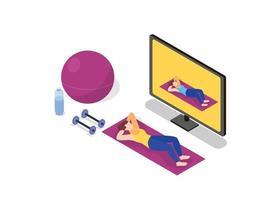 aula de ginástica em casa transmissão ao vivo online vetor