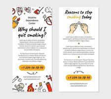 Pare de fumar modelo de folheto de vetor para clínica