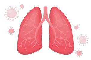 pulmões humanos saudáveis com pneumonia viral covida vetor