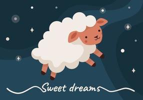 ovelha no céu, insônia, bons sonhos vetor