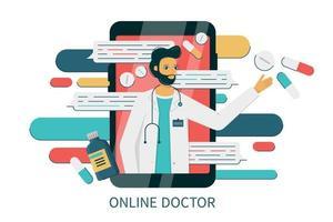 smartphone com internet bate-papo com médico vetor