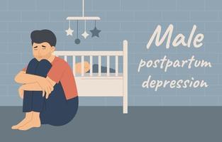 depressão pós-parto masculina, homem triste sentado perto do bebê vetor