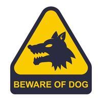 etiqueta amarela, cuidado com o cão. área protegida. ilustração vetorial plana vetor