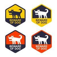conjunto de etiqueta amarela, cuidado com o cão. área protegida. vetor