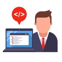 programador e laptop com código de programa. vetor