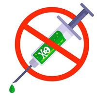 pessoas contra a vacinação. seringa com veneno. injeção perigosa. vetor