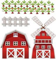 conjunto de elementos de fazenda isolado no fundo branco vetor