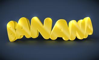 Tipografia 3D - banana, vetor