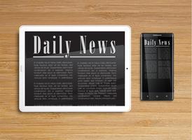 Tablet realista com um smartphone, vetor