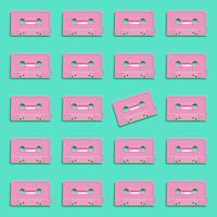 Cassete realista retrô pastel sobre fundo liso, ilustração vetorial