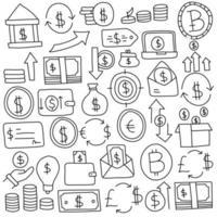conjunto de ícones de doodle de moeda vetor