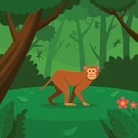macaco andando na floresta verde vetor