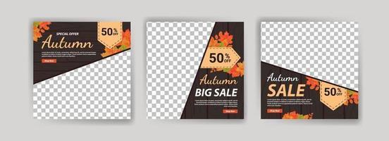modelo de cartaz de mídia social para promoção de vendas de outono. vetor